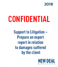 Support to Litigation – Prepare an expert report in relation to damages suffered by the client 2018